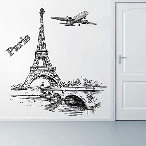 Romantische toren Parijs Vliegtuig Decoratie Muursticker Woonkamer Slaapkamer Decoratie PVC muurdecoratie Muur Art DIY Poster