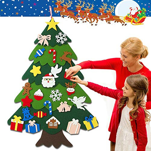 Tondwin 3D Felt Christmas Tree for Toddlers DIY for Kids with Set of Christmas Ornament New Year Wall Hanging Decoration 2020-New