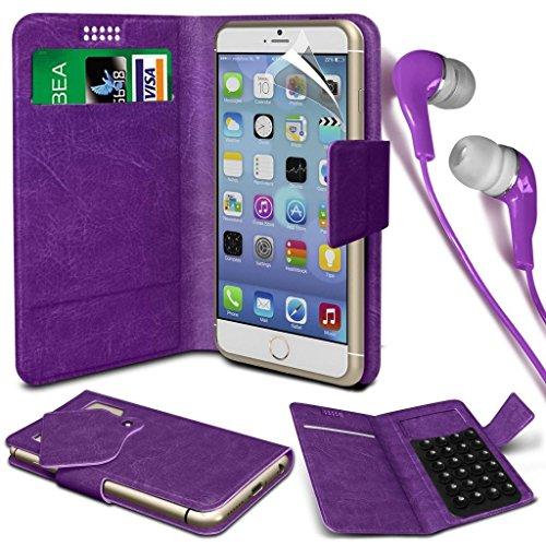 N4U Online®–Oppo Joy Plus PU Leder Saugnapf Pad Brieftasche Schutzhülle und 3,5mm Kopfhörer Stereo Kopfhörer–lila