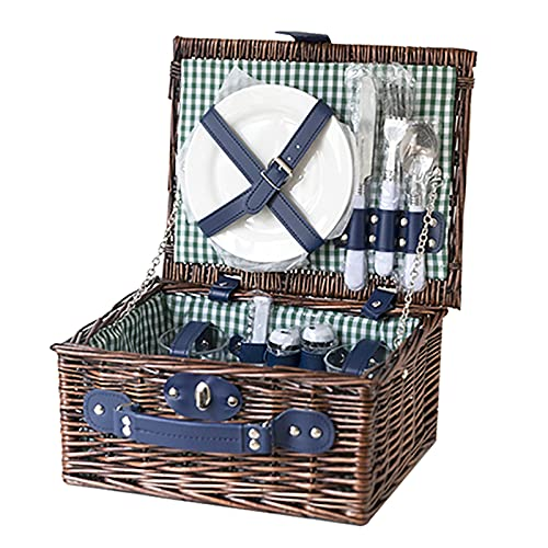 YAROK Antique Traditional Willow Picnic Hamper for 4 Persons with Double Lids And 'Built-in' Insulated Cooler, Natural Wicker Picnic Basket,Willow Picnic Set