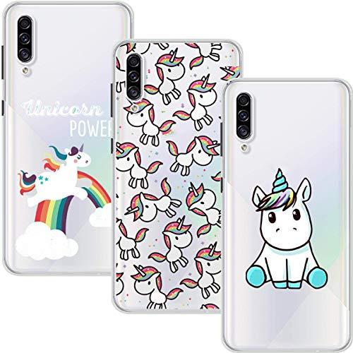 Young & Min Funda para Samsung Galaxy A30s, (3 Pack) Transparente TPU Silicona Carcasa Delgado Antigolpes Resistente, Unicornio