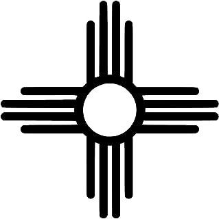 JMM Industries New Mexico Flag Symbol Vinyl Decal Sticker Car Window Bumper 5-Inches Premium Quality Print UV Resistant Laminate JMM00140BLK5 (Black, 5-Inches)