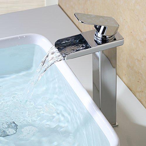 HOMELODY Wasserfall Wasserhahn Bad Hoch, Armatur Bad Waschtischarmatur für Waschbecken Badezimmer, Heißes und Kaltes Wasser Vorhanden, Verchromt Messing, Geeignet für Aufsatzwaschbecken