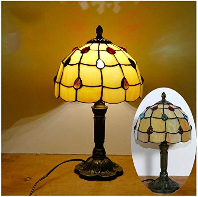 YYF Europische Retro-Beige Perlmutt Tischlampe - Glas im mediterranen Stil 8 Zoll (20 cm)