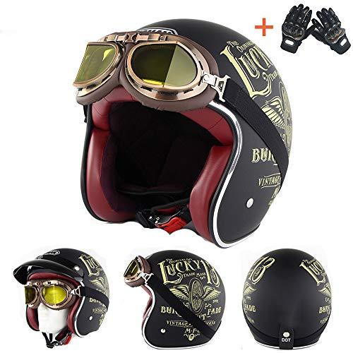 Chopper Helmet Custom Cafe Racer Biker Motor Motorbike Quattro Stagioni Sport Outdoor Traspirante Leggero Open Face Caschi 3/4 Guanti gratuiti,M