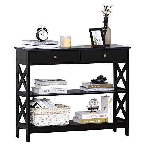 HOMCOM Console Table Side Desk w/Shelves Drawers Open Top X Support Frame Living Room Hallway Home Office Furniture Black