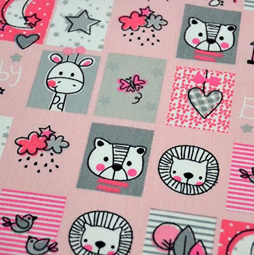 Jersey Stoff Kinderstoff Eule rosa Streifen ab 50 cm