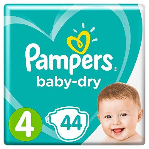 Pampers Baby-Dry Größe 4, 44 Windeln, 9-14 kg, Essential Pack, Luftkanäle für atmungsaktive Trockenheit über Nacht