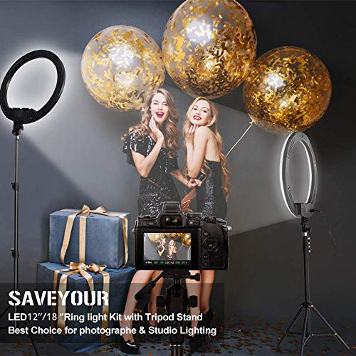 18 Inch Ring Light with Stand, SAVEYOUR Dimmable LED Ring Light with Carry Bag, Phone Holder & Pad Holder, Lighting for Live Stream/Makeup/Video/Camera/YouTube, Compatible with iPad iPhone Android