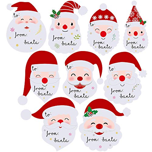 """Winlyn 8 Sheets 144 Pcs""""from Santa"""" Tag Stickers Christmas Labels Stickers Name Tag Stickers in Assorted Cute Smile Santa Claus Designs for Holiday Festive Wrapping Party Favors"""