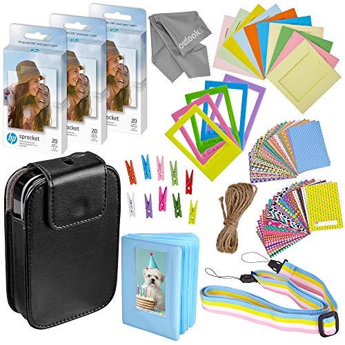 """HP Sprocket 2x3"""" Premium Zink Sticky Back Photo Paper (3 Twin Packs, 60 Total) + Sprocket Case (Black) + 60 Sticker Frames + 5 Plastic Desk Frames + 10 Paper Frames + Album + Micro-Fiber Cloth"""