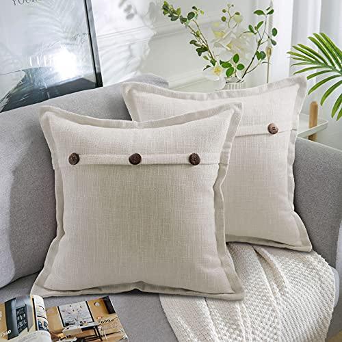 AllmarkHomes Fundas De Cojines Sofa Cojines Decorativos Funda Cojin 45x45 cm Cojines Sofa Para Sofa Con Cojines Fundas Almohadones (Gris Blanco Set De 2)