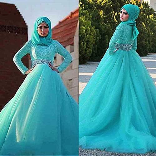 SHGUANMO Wunderschöne Tüll natürliche Waisline Ballkleid arabische islamische Brautkleider mit Strassgürtel Muslim Bridal Kleid blau (Color : White, US Size : 2)