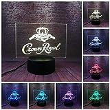 Canadiense Whisky Crown Royal 3D Slide Night Light 7 Cambio De Color Light Toy Party Decoración