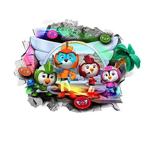 Interpaw ala Superior Top Wing 3D Cartoon Smashed Pegatinas de Pared para dormitorios niños y niñas Mural calcomanía Tamaño Grande 77 cm X 53 cm