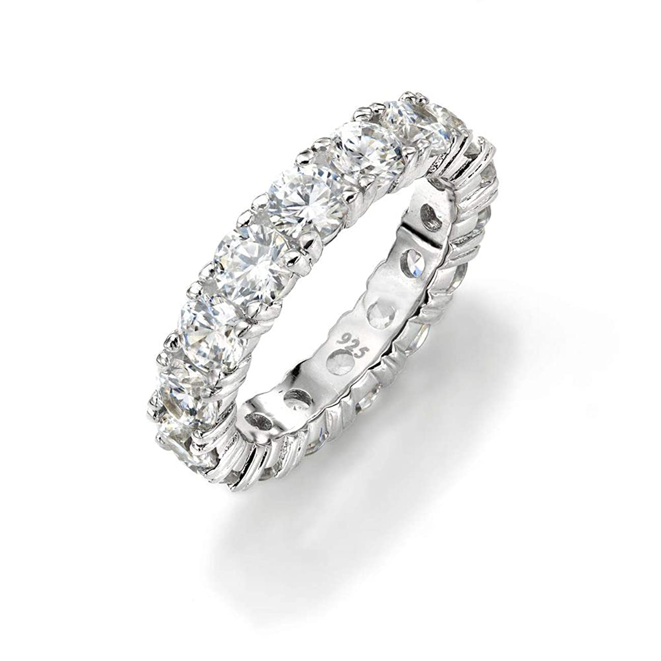 NYC Sterling 4mm Sterling Silver 925 Cubic Zirconia Cz Eternity Engagement Wedding Band Ring