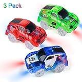 Funkprofi Spielzeugautos für Kinder ab 2 Jahre alt, 3 Pack Kinderspielzeug Auto Track Cars mit 5 LED Lichter Rennauto Rennwagen Leuchtender Elektrischer Eisenbahnwagen ( Blau, Rot, Grün)