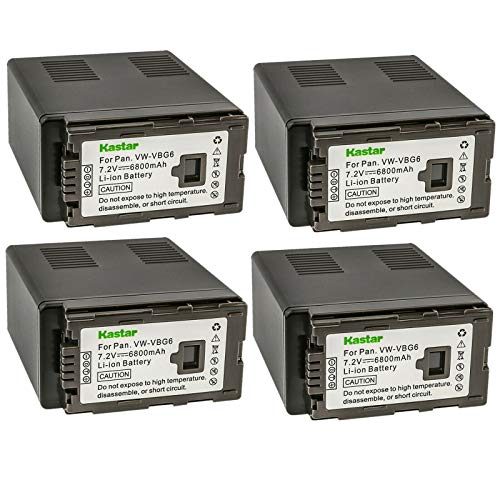 Kastar Battery 4 Pack Replacement for Panasonic VW-VBG6 VWVBG6 Battery and Panasonic AG-AC160A, AG-AC7, AG-AC130A, AG-AC160A, AG-HMC40, AG-HMC70, AG-HMC150, H68, H80, H90, H258, VDR-D50, D58, D310