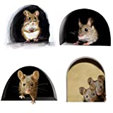 3D Wall Stickers,Realistic Mouse,Hole Wall Mouse in A Hole Wall Decal Fun Art Animal Stickers for Home Decor Living Room Nursery Bedroom Kids Room Wall Decoration(4Pcs/Set )