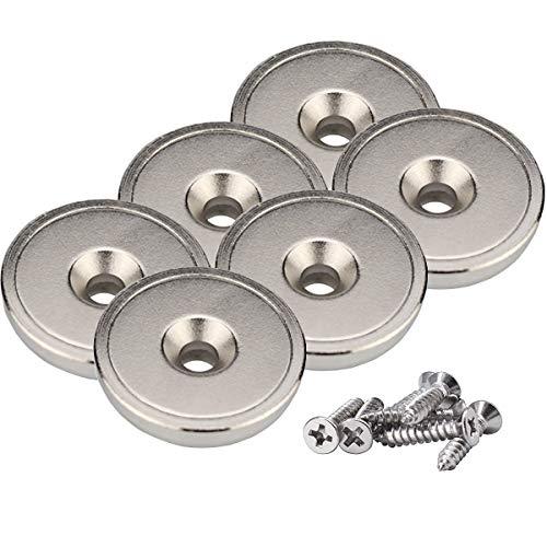 Magnetpro Neodym Disc Magnete 28 x 5 mm Super Strong 20 kg Zugkraft mit Stahlbecher und Schrauben (6 Stück)