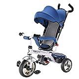 WAWDZG Chariots Vélo Bébé Tricycle Enfants Tout-Petits Garçons Et Les Filles 2-6 Tempête Vélo Enfant en Bas Âge Bain De Soleil Landau (Color : Blue)