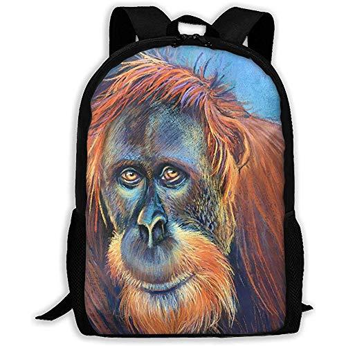 Casual Schultasche Big Gorilla Mit Braunem Fell Rucksack Frauen 3D Print Daypacks Für Männer