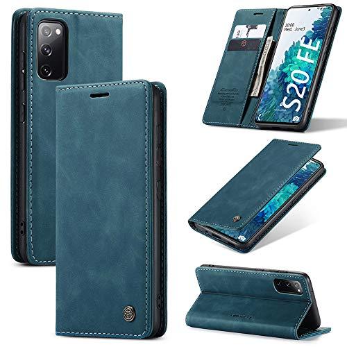 KONEE Hülle Kompatibel mit Samsung Galaxy S20 FE, Lederhülle PU Leder Flip Tasche Klappbar Handyhülle mit [Kartenfächer] [Ständer Funktion], Cover Schutzhülle für Samsung Galaxy S20 FE 5G - Blaugrün