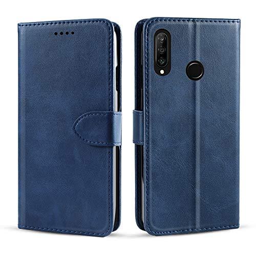 fitmore für Lenovo Z5s Hülle, Ultra Dünn PU-Leder Schutzhülle [Anti-Kratzen] Flip Case Lederhülle Etui mit Kartenfach Magnetverschluss Ledertasche - Blau