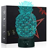 Pineapple Lights, 3D Night Light for Kids, 7 Colors Touch Table Desk Lamps, LED Vision Illusion Lighting with USB, Baby Bedroom Sleep Lamp, Birthday Party Holiday Gifts for Children