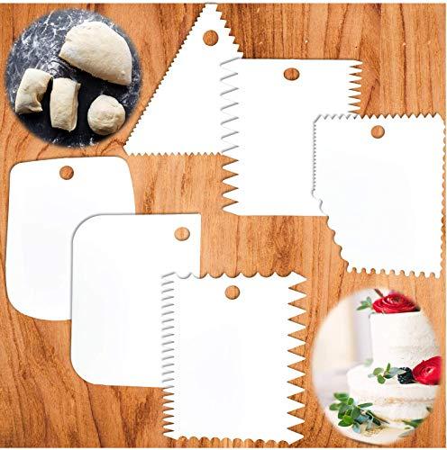 Moogambi 6 CORTADORAS de masa pan Rasquetas diferentes tamaños y formas para cortar decorar masas pasta pizzas pasteles tartas utensilios cocina imprescindibles en repostería y panadería
