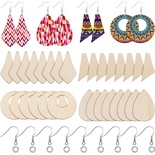 120 Pieces Wood Earring Pendant Unfinished Christmas Wood Earring Blanks Wooden Teardrop Blanks with 120 Earring Hooks and 200 Jump Rings for Earrings Jewelry DIY Craft Making