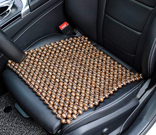 EXCEL LIFE Natural Wood Beaded Seat Cover Pad Mat Comfy Cool Summer Massage Seat Cushion (Square) for Car Office Chair