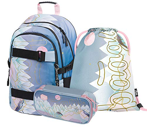 Schulrucksack Set Mädchen 3 Teilig, Schultasche ab 3. Klasse, Grundschule Ranzen mit Brustgurt, Ergonomischer Schulranzen (Skate Moon)