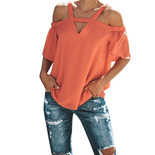 HIRIRI Womens Spaghetti Strap Cold Off Shoulder Tops T Shirt V Neck Halter Blouse Short Sleeve Summer Top Orange