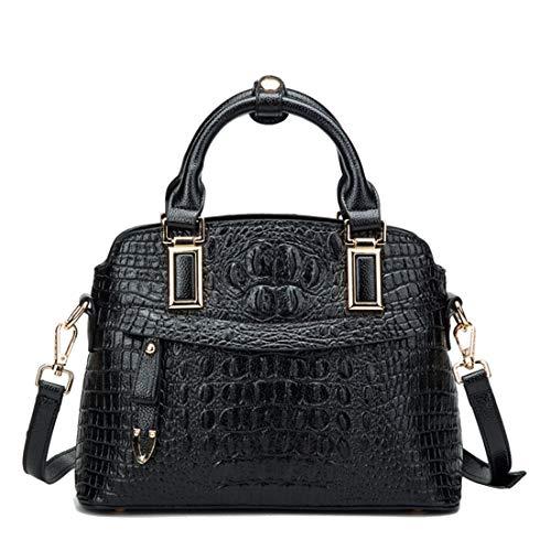 UZZHANG Krokodil-Muster Damen Handtasche Leder Handtasche Messenger Bag Simple Wild Praktisch Schwarz