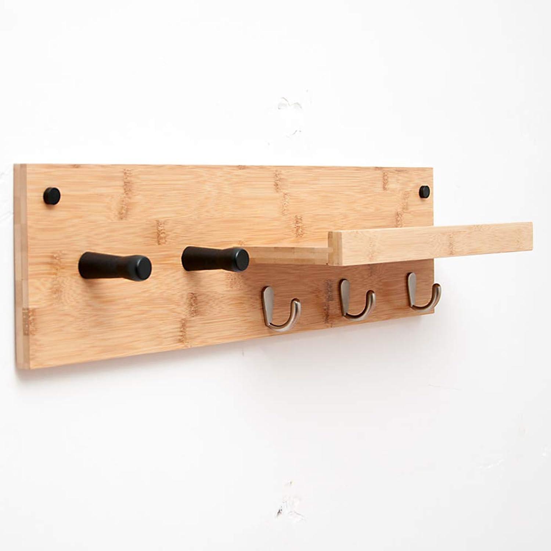 JIANFEI Wall Mounted Coat Rack Multifunction Hanging Clothes More Hooks L-Type Shelf Bamboo (Size   61  13  16cm)