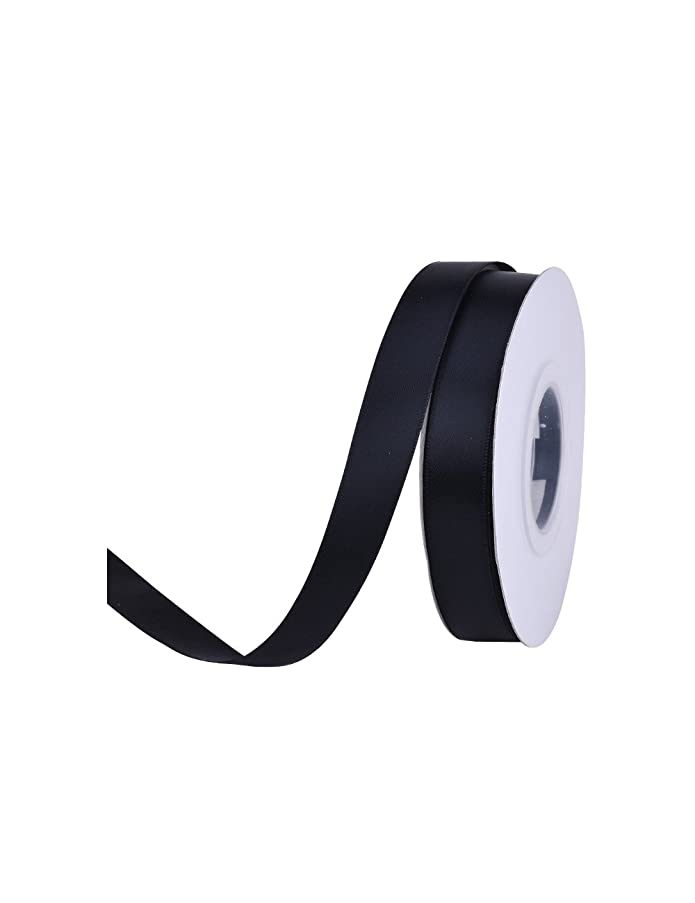 Ribest 5/8 inch Solid Double Face Satin Ribbon for Gift Wrapping and Bow Hair Accessories-25 Yards (Black 030)
