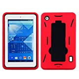 Microseven Rugged SH Impact Armor Kickstand Dual Layer Case Cover for Alcatel OneTouch POP 7 with Microseven Packaging (Red/Black)