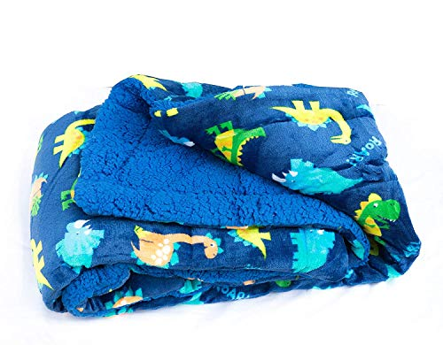 Elegant Home Kids Soft & Warm Sherpa Baby Toddler Boy Sherpa Blanket Navy Blue Dinosaurs Multicolor Printed Borrego Stroller or Toddler Bed Blanket Plush Throw 40X50 # Dinosaurs