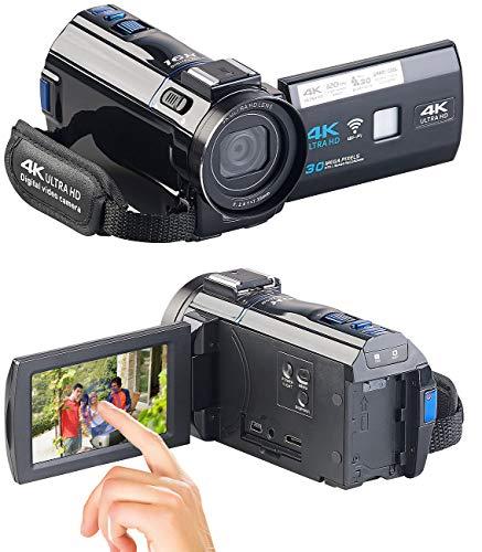 Somikon Videokamera: 4K-UHD-Camcorder mit Panasonic-Sensor, WLAN, App, HD mit 120 B/Sek. (Digitalkamera)