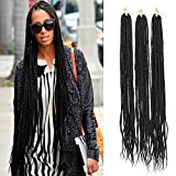 3Packs Medium Box Braids Crochet Hair 30inch Ombre Braiding Hair 22strands/Pack 120g 3X Box Braids Hair Extensions (3pack, black)