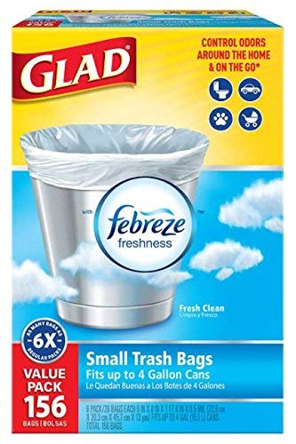 Glad 4 Gallon Small Garbage Bags with Febreze, 156 Count