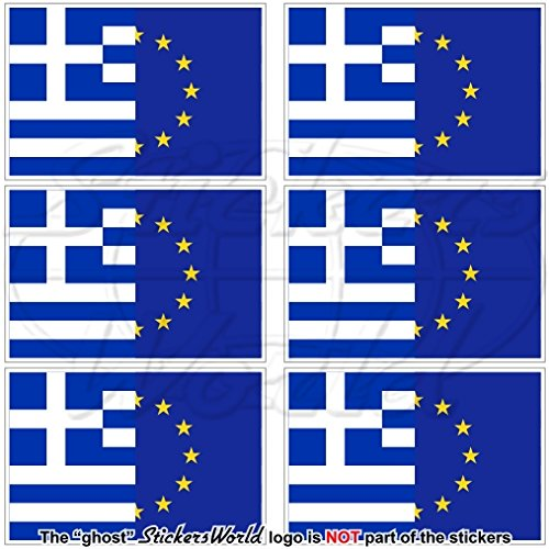 europe-greece Drapeau, eu-gr Hellas européenne union-greek Hellénique 40 mm (40,6 cm) Téléphone Mobile Mini en vinyle autocollants, Stickers x6