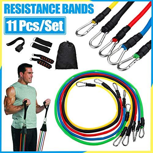 gracosy Bandas de Resistencia 11 PCS Importado Bandas Elásticas Musculacion de Látex Bandas de Ejercicio, para Fitness, Pérdida de Peso, Yoga
