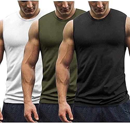 Coofandy Herren Trainings-Tanktops, 3er-Pack, ärmellos, Muskel-T-Shirts, Weiß/Schwarz/Armeegrün, M
