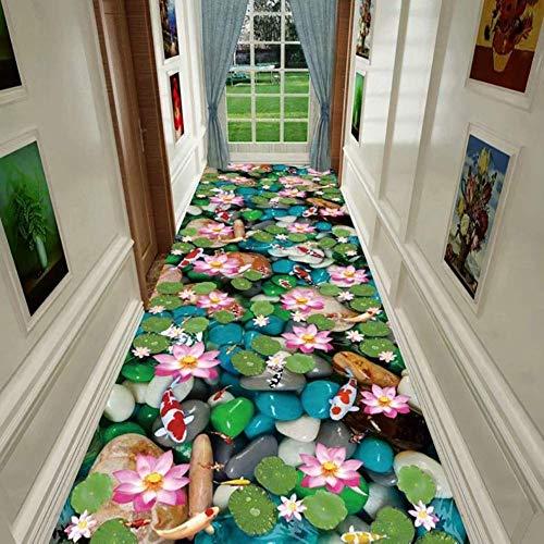 GJXY Los Corredores alfombras Alfombra del Piso Puerta del Pasillo Moderno para el baño de la habitación con 3D Auspicioso Santander Pescado, Long Fácil de Limpiar,160x230cm