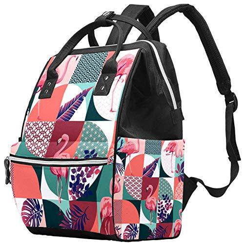 Flamingos Tropische Palmblätter Exotische Hawaii Tropische Trendige Wickeltasche Laptop Rucksäcke Notebook Rucksack Reisen Wandern Daypack für Frauen Männer