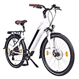 "NCM Milano 48V, 28"" Urban Trekking E-Bike Elektrofahrrad Pedelec, 250W 13Ah 624Wh, weiß, schwarz (Weiß, 28"")"