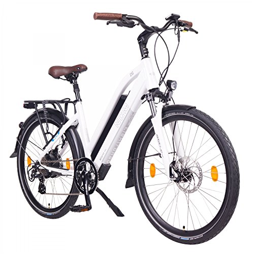 "NCM Milano 48V, 26\"" Urban Trekking E-Bike Elektrofahrrad Pedelec, 250W 13Ah 624Wh, weiß, schwarz (Weiß, 26\"")"