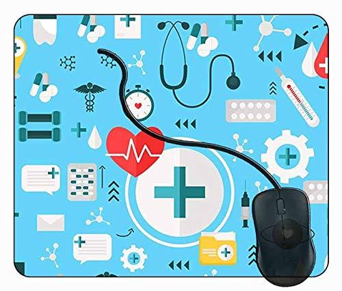 Juzijiang Alfombrilla de Ratón Suministros médicos, Alfombrilla Gaming, Base de Goma Antideslizante para Gamers, PC Portátil - 24x20cm